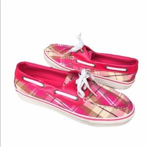 SPERRY   boat shoes pink plaid LN 8.5